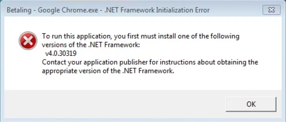 your .net is out of date according to betaling google chrome. or is it?