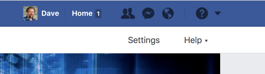 settings button, facebook business page