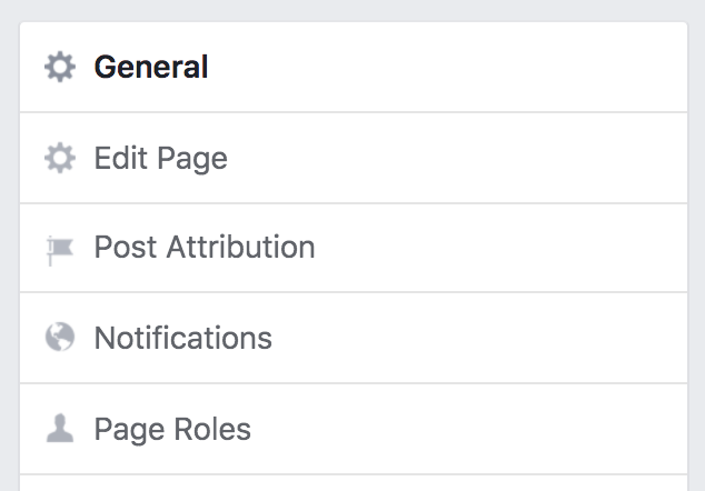 facebook biz page settings, main categories