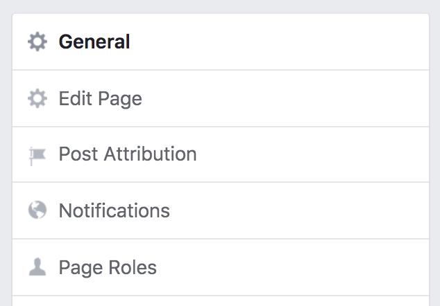 facebook biz page settings, main categories