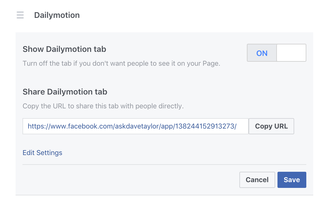 edit facebook fb business page settings tab category option menu