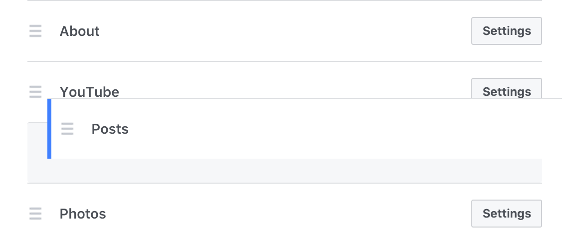 reorder tabs, facebook business page