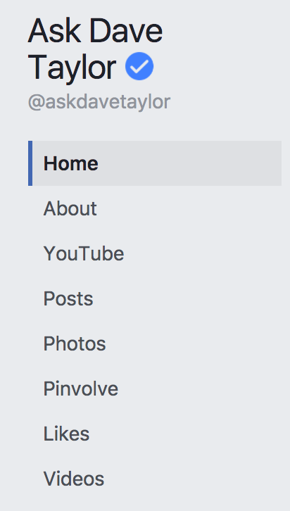 facebook business page tabs, reordered cleaned up