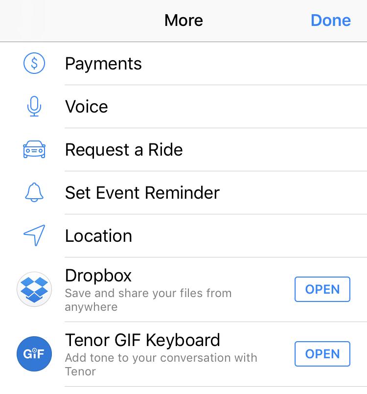 facebook messenger 'more' options