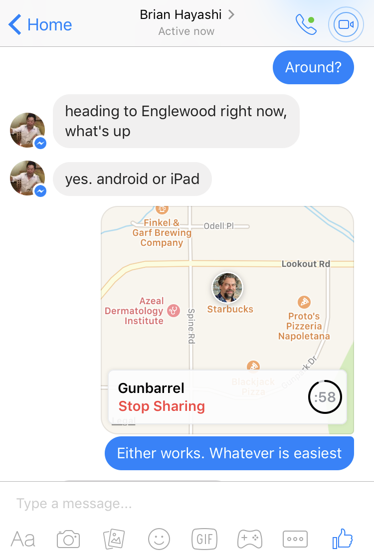 sharing location in facebook messenger iphone ios ipad
