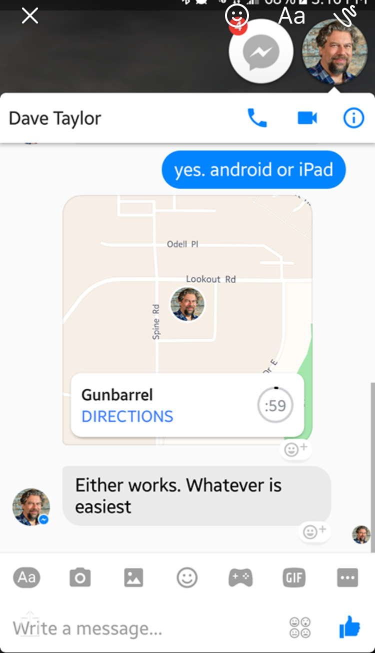 android facebook messenger share location tracking update