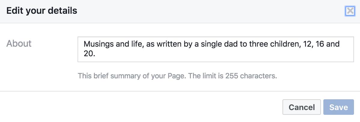 edit 'about' info facebook business fan celebrity info page