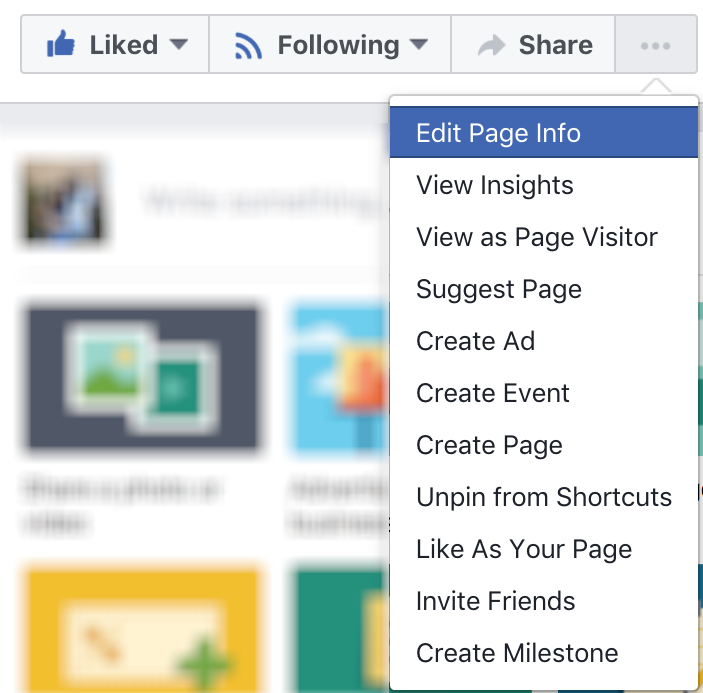edit page info button, facebook business page