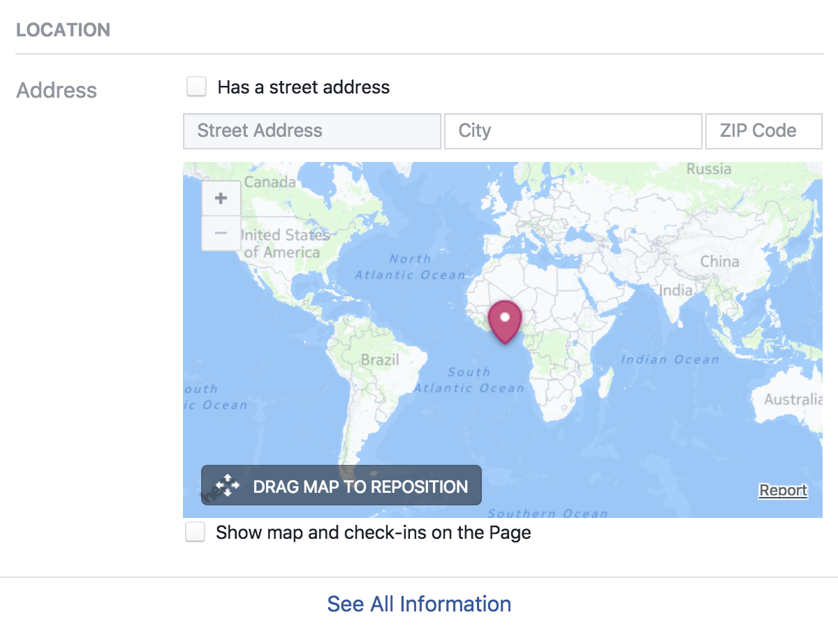 facebook business page - location address map