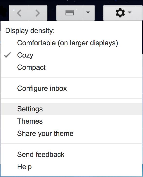 google gmail settings menu