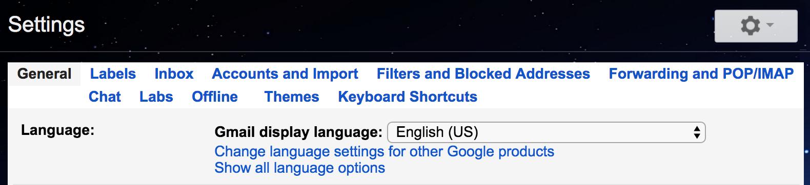 gmail settings menu options