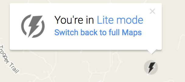 you're in lite mode - google maps