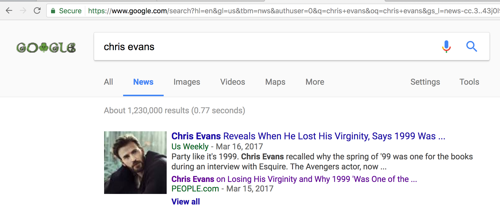 chris evans search results, google news gnews