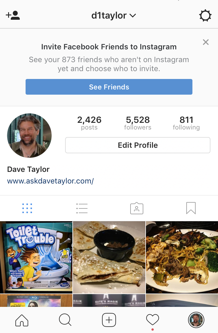 instagram profile screen