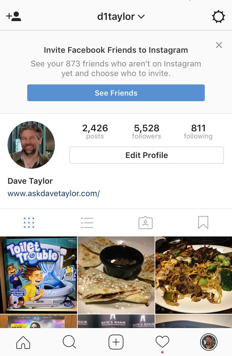 instagram profile screen