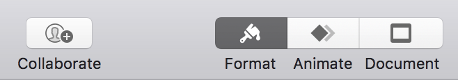 format / animate / document in keynote