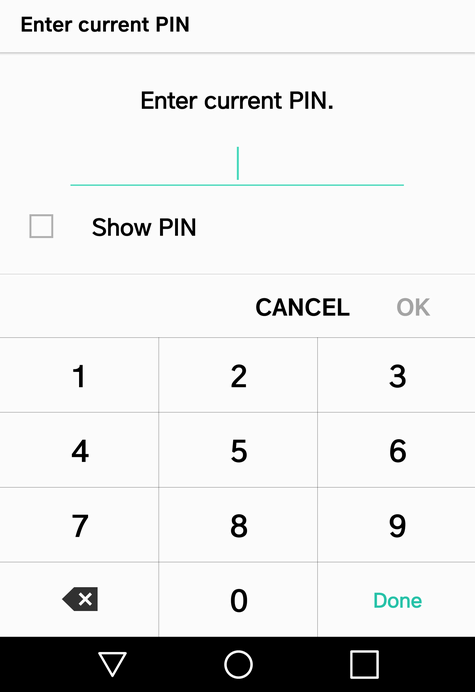 android enter pin