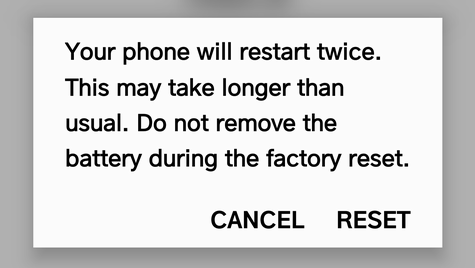 sure you want to factory reset android phone
