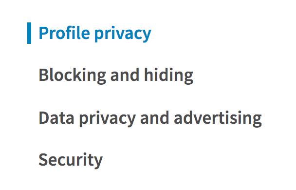 linkedin privacy and settings menu