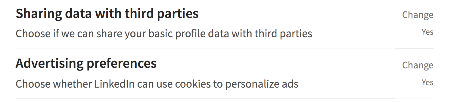 linkedin data privacy settings preferences