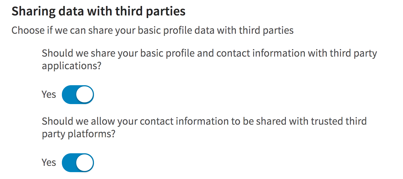 linkedin data shared with third parties