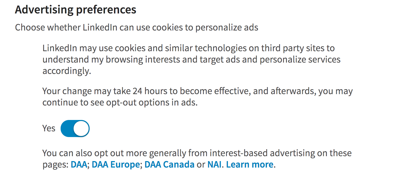 linkedin advertising preferences settings