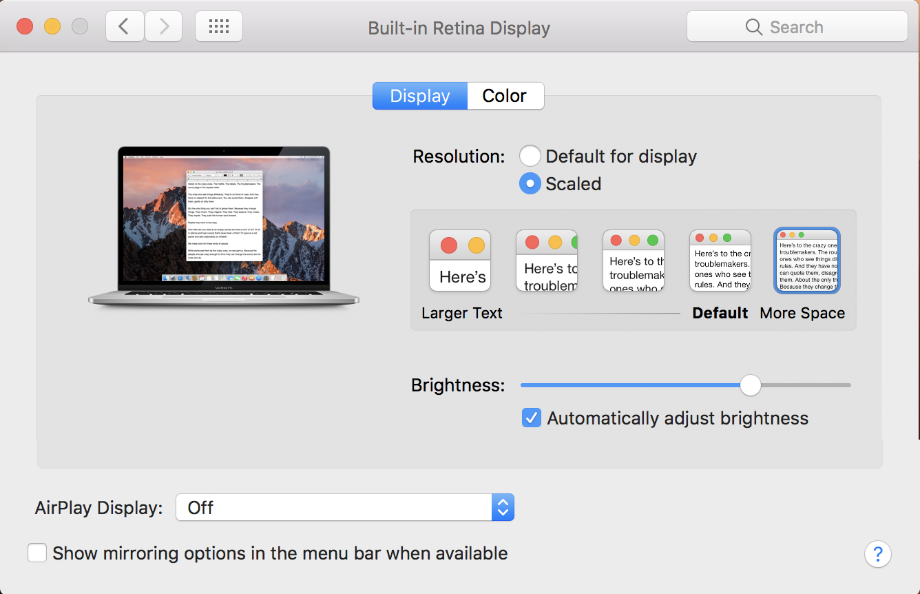 macos x displays system preference, default view