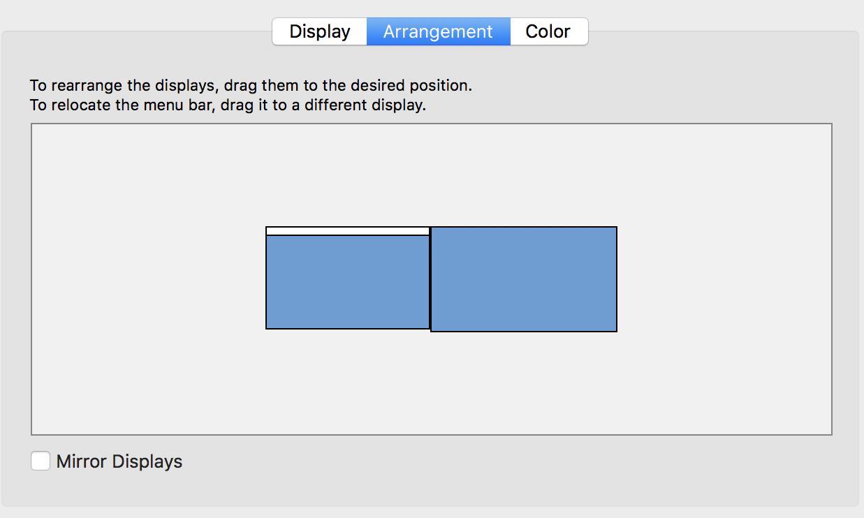 macos x arrangement displays monitors projector