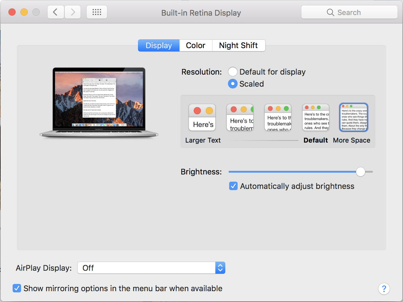 macos x system preferences settings display