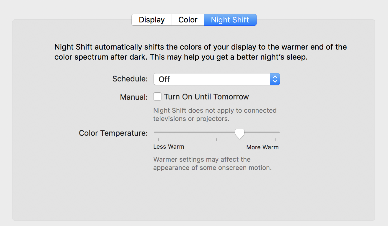 mac os x macos night shift blue light options