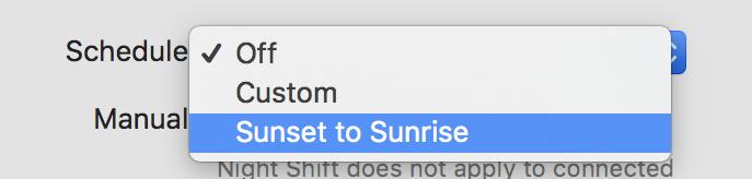 apple mac night shift timing options