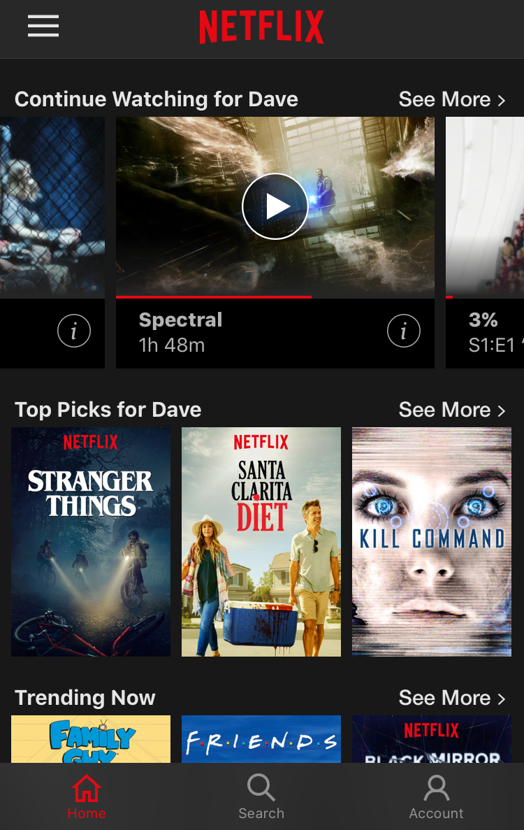 netflix home screen, apple iphone ios