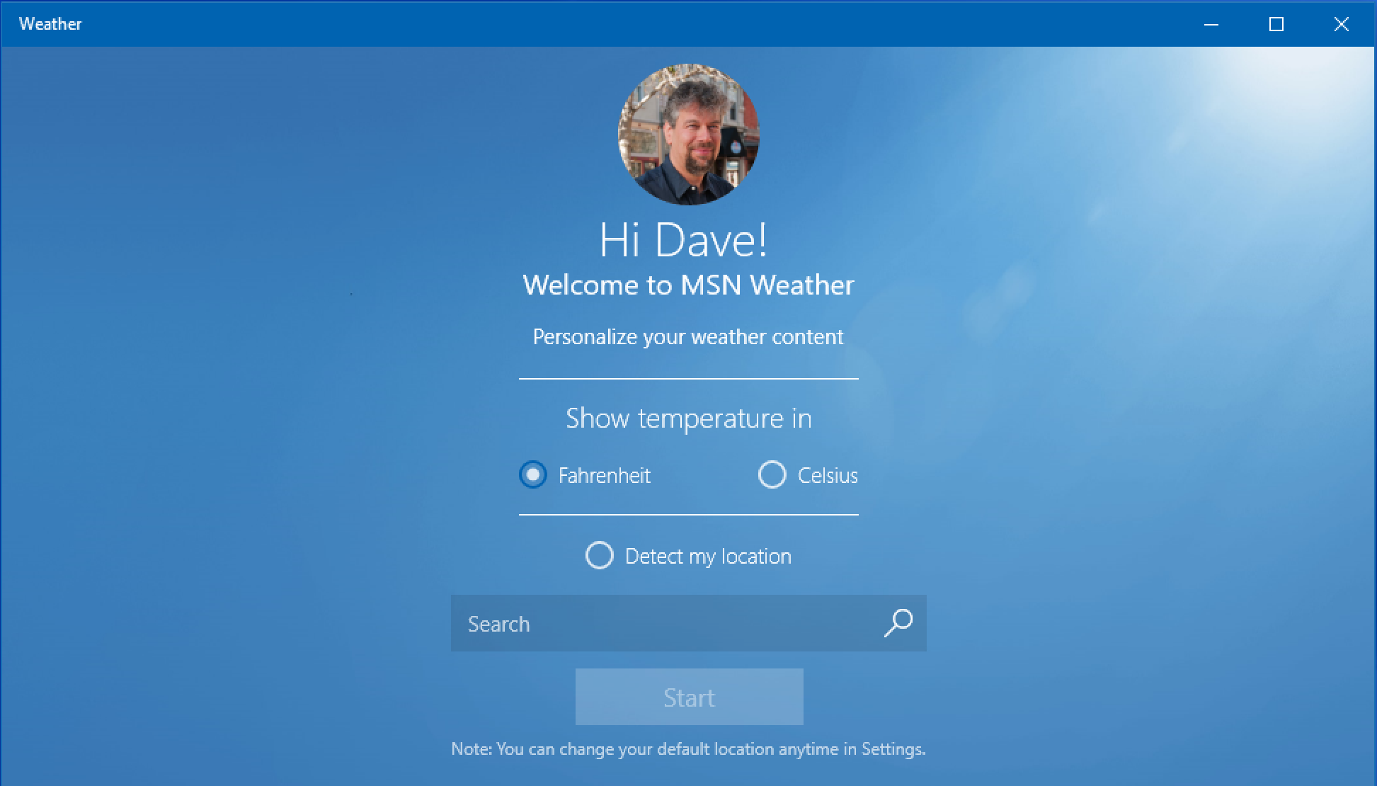 win10 weather program - no location set