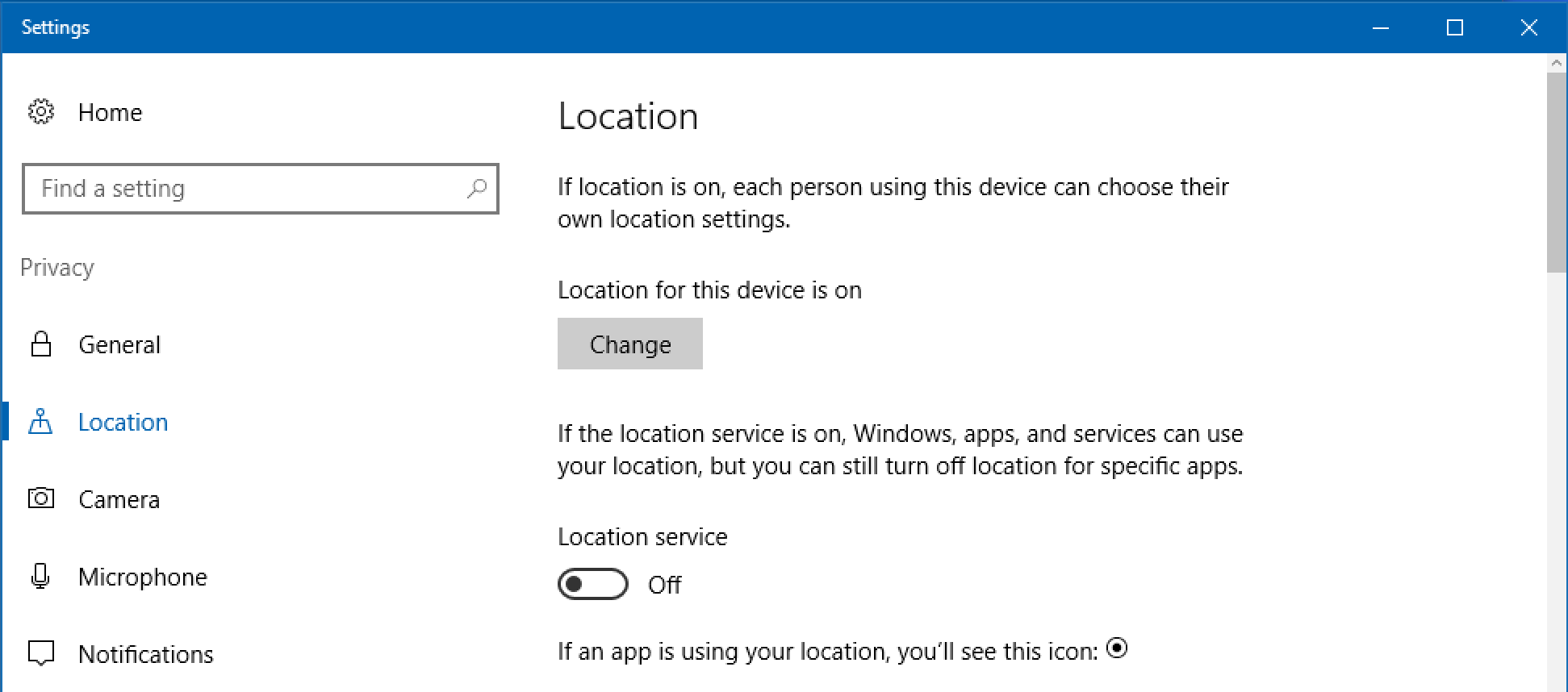windows 10.1 location privacy settings preferences