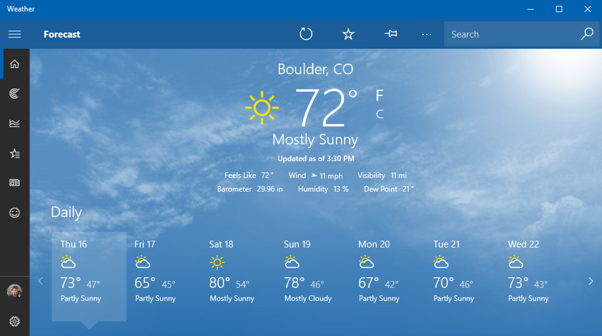 boulder, co weather in msn weather program