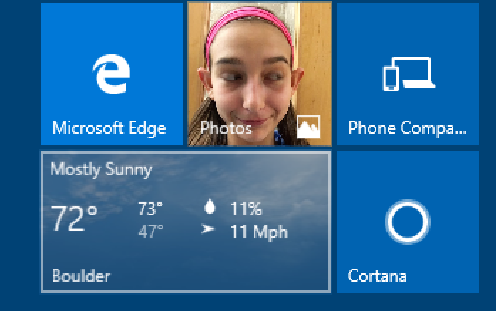 windows 10 start tile: weather active tile