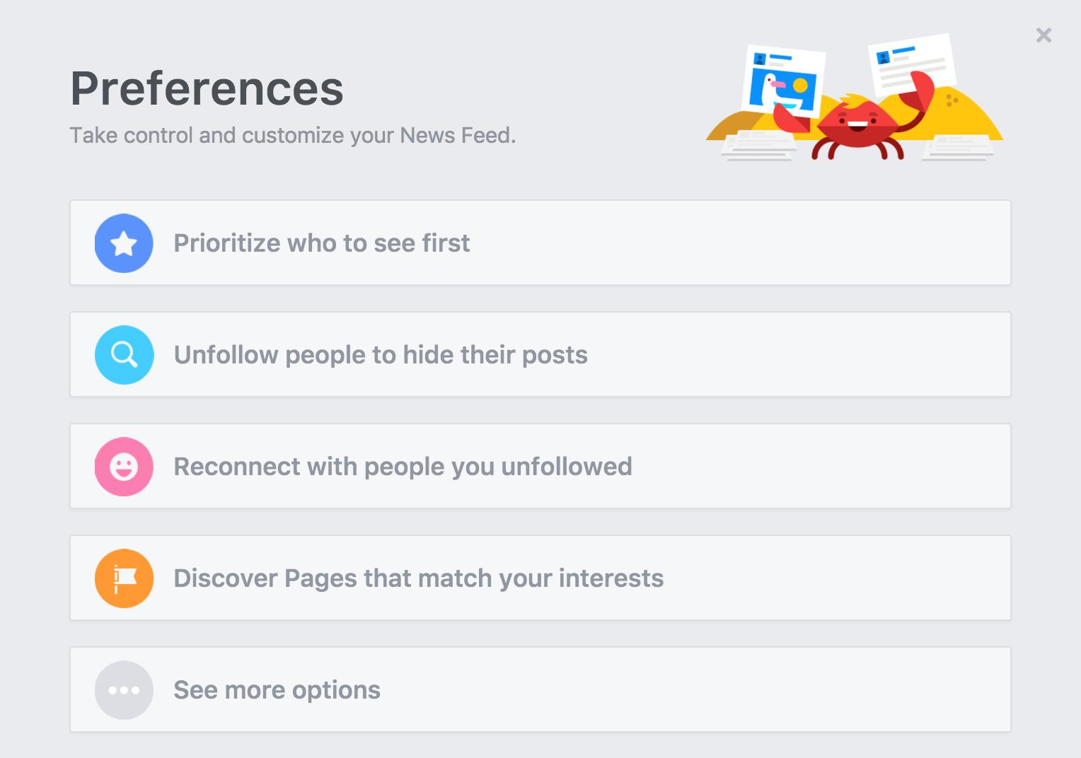 edit facebook newsfeed preferences