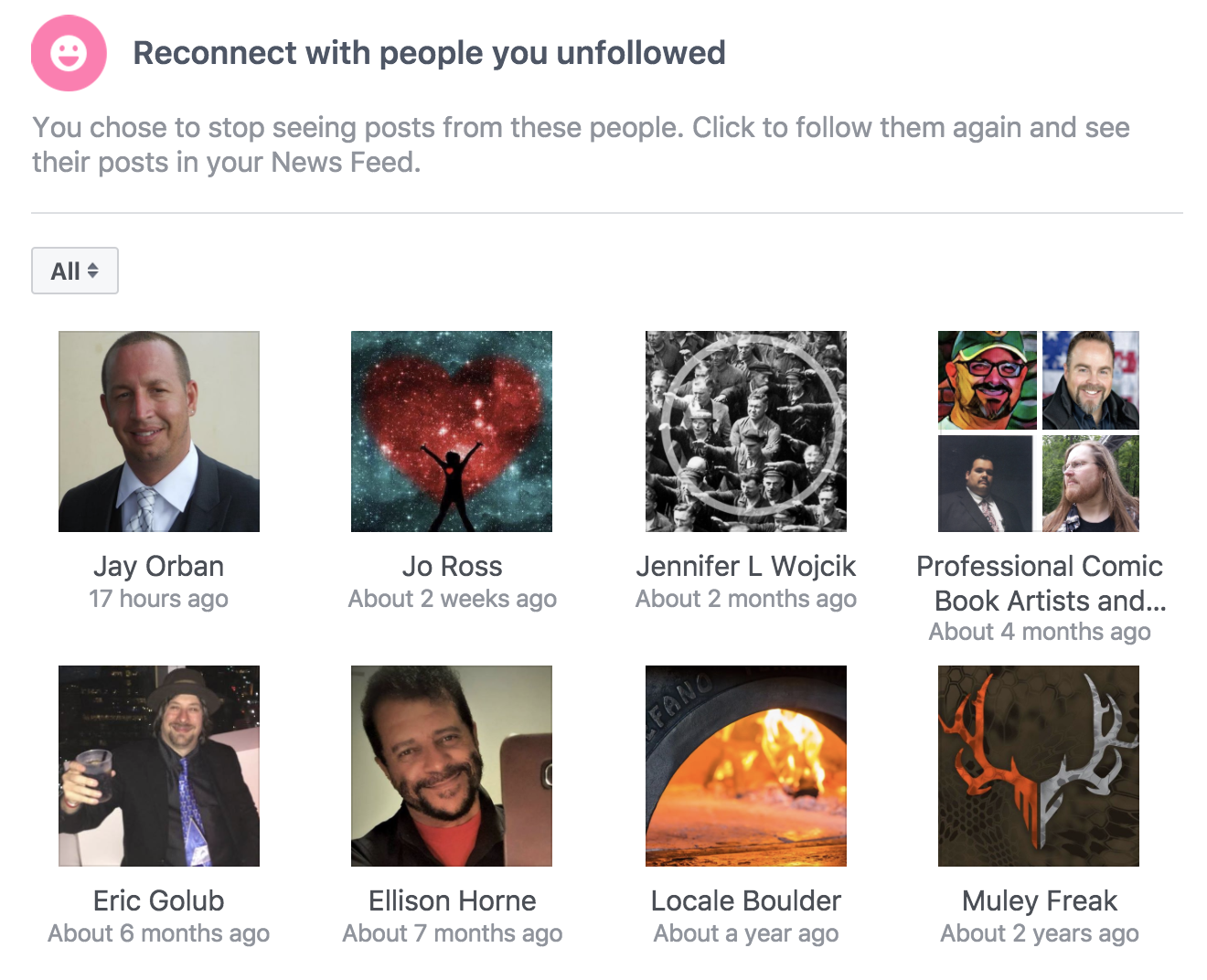 facebook people I have unfollowed