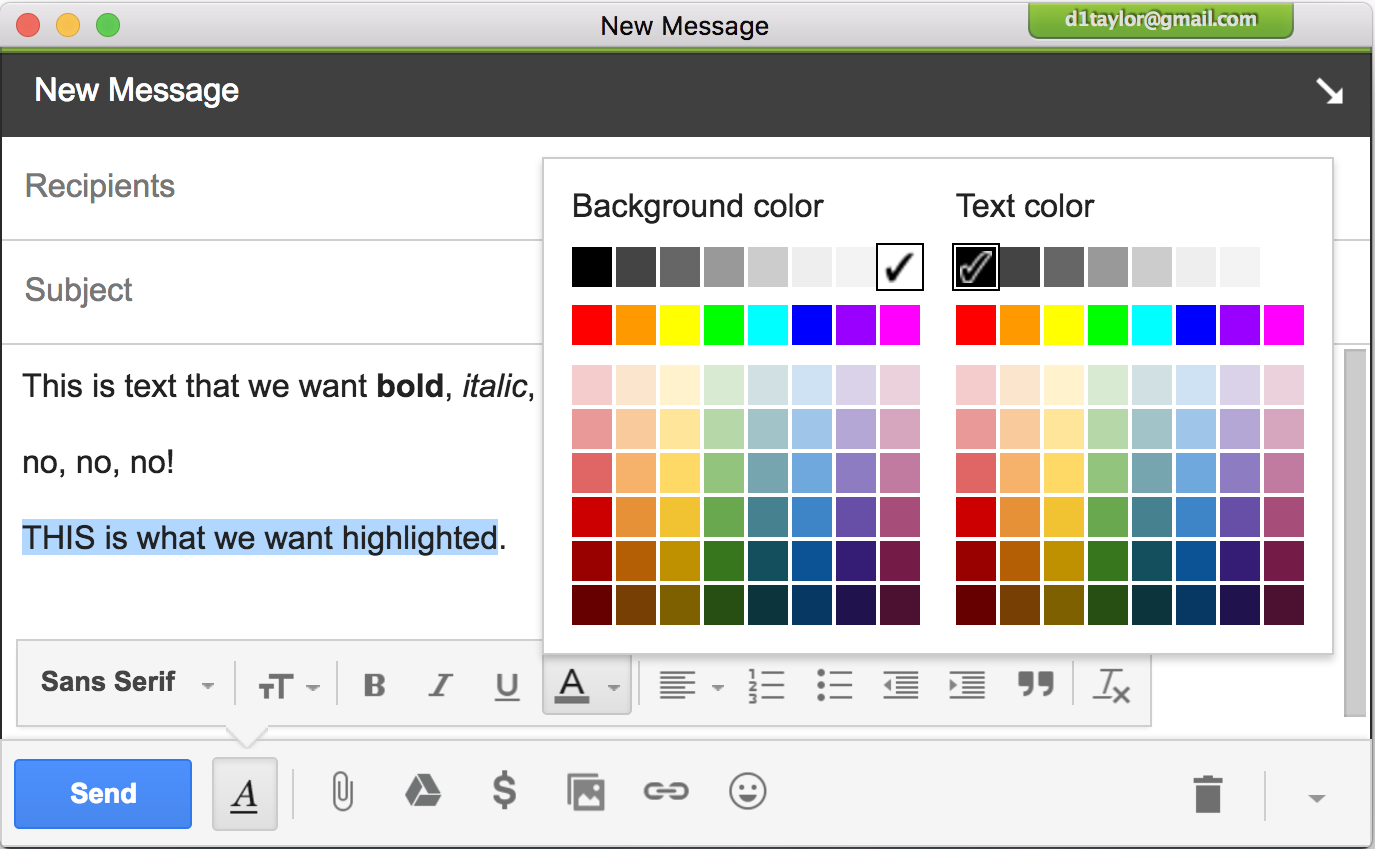 gmail font color background color menu rainbow colors option