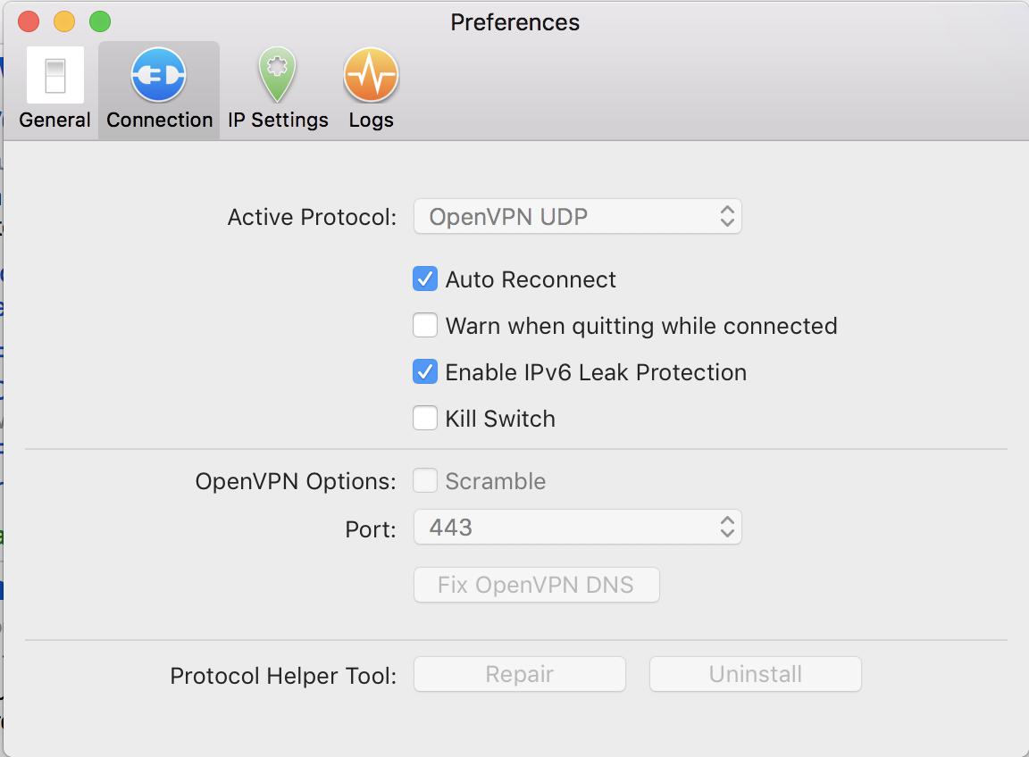 connection settings preferences ipvanish