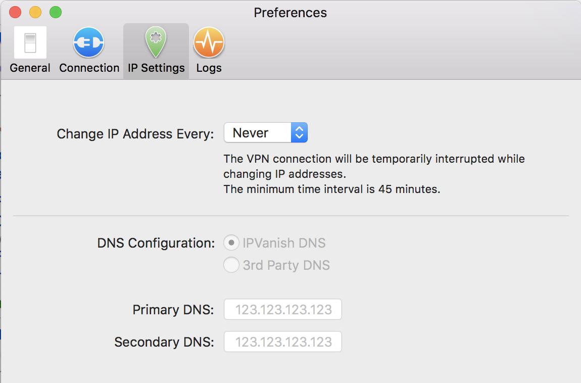 ip settings in ipvanish vpn