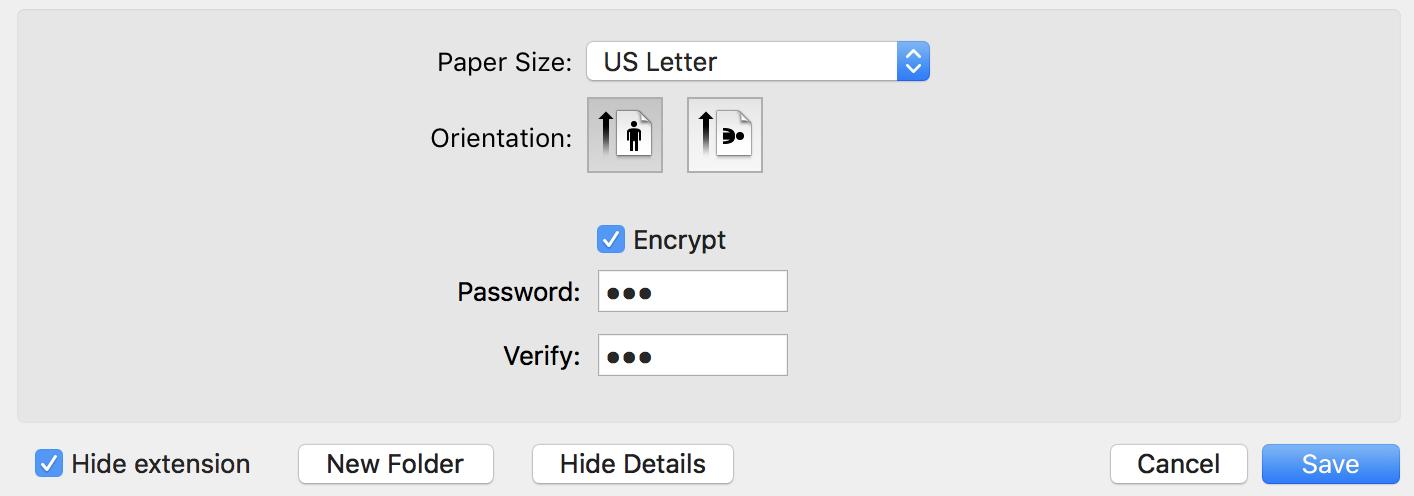 show details, save pdf, encryption password preview pdf