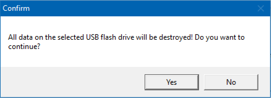 are you sure you want to burn this iso to usb flash drive