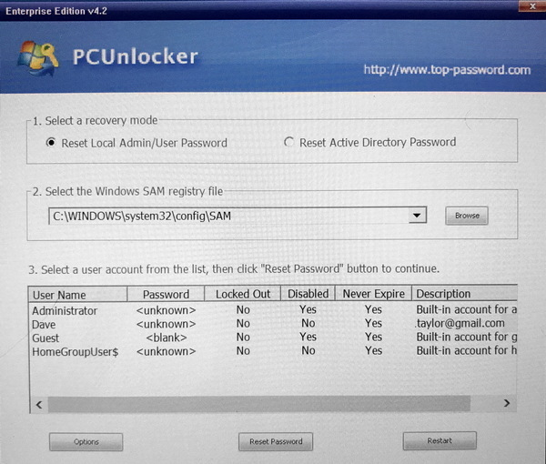 restarted pc, running pcunlocker password cracker