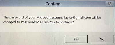 password of microsoft windows account will be changed. ok?