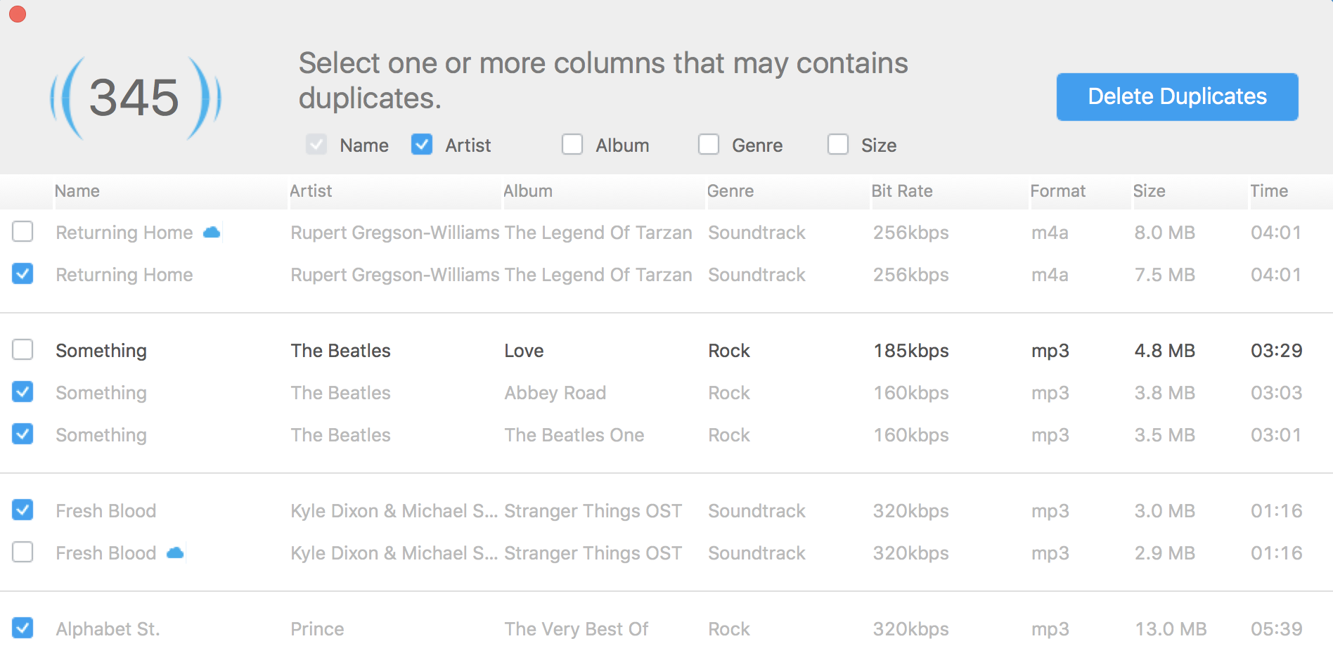 itunes music dupes track name - tunesgo