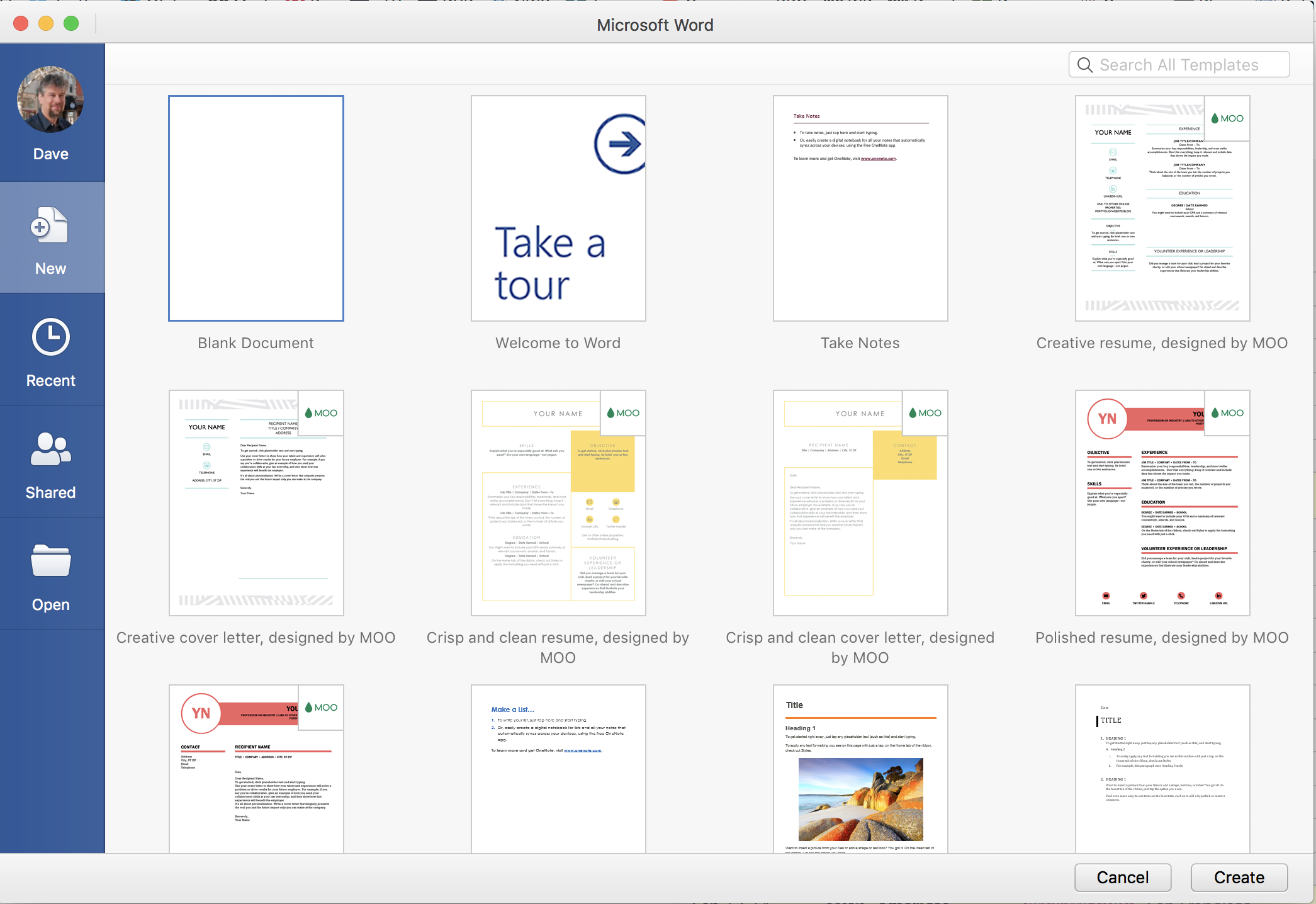 microsoft word for mac - main window pop-up new document