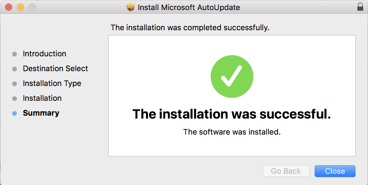 microsoft autoupdate successfully updated mac