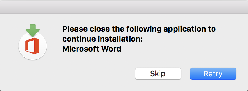 quit microsoft word to apply update mac