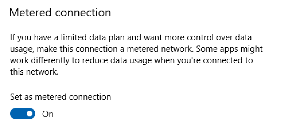 set metered connection